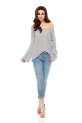 Asymetryczny lekki sweter z dekoltem v - jasnoszary