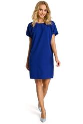 Krótka luźna sukienka z krótkim rękawem chabrowa m337