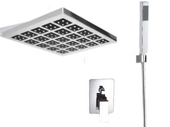 Zestaw prysznicowy, bateria podtynkowa, deszczownica