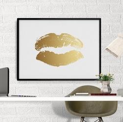 Złote usta - plakat ze złotym nadrukiem , wymiary - 50cm x 70cm, kolor ramki - czarny, kolor nadruku - srebrny