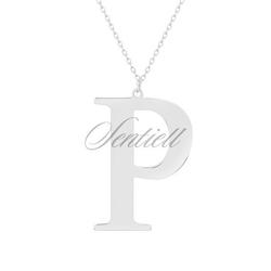 Srebrny naszyjnik pr.925 literka p - rodowanie  p