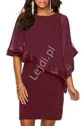 Burgundowa sukienka z szyfonową narzutką zdobioną cekinami 518
