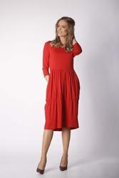 Czerwona dzianinowa codzienna sukienka bombka