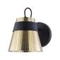 Kinkiet czarno-złoty, metalowy, perforowany klosz trento maytoni modern mod614wl-01bs