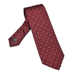 Bordowy krawat jedwabny w kółeczka i kropki