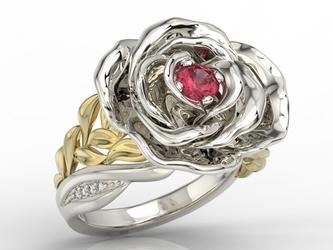 Pierścionek z białego i żółtego złota w kształcie róży z rubinem i diamentami ap-95bz - białe i żółte  rubin