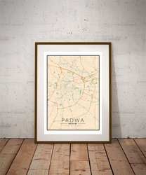 Padwa, włochy mapa kolorowa - plakat wymiar do wyboru: 40x50 cm