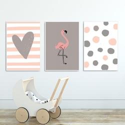 Zestaw plakatów dziecięcych - flamingo heart , wymiary - 50cm x 70cm 3 sztuki, kolor ramki - biały