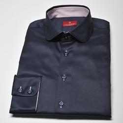 Elegancka granatowa koszula męska van thorn slim fit z kołnierzykiem typu club - slim fit 42