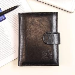 P150 czarny skórzany portfel męski - czarny