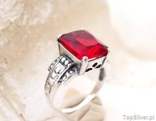 Aleros 4 - srebrny pierścionek z rubinem