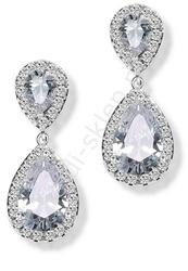 Kryształkowe kolczyki wieczorowe, dwie łezki otoczone kryształkami