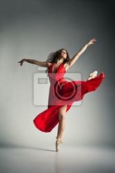 Obraz tancerka baletu na sobie czerwony strój na szaro
