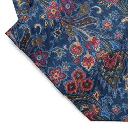 Elegancki niebieski fular jedwabny hemley w roślinny wzór
