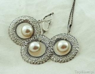 Salvinio - srebrny komplet biżuterii z perłami