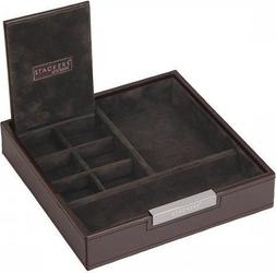 Pudełko na spinki i zegarki stackers pojedyncze brązowe