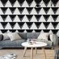 Czarno-białe trójkąty 3d - tapeta ścienna , rodzaj - tapeta flizelinowa laminowana