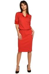Czerwona sukienka z niską stójką