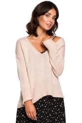 Bladorózowy szykowny sweter w serek z dłuższym tyłem