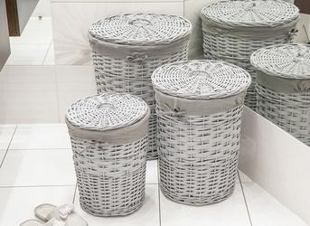 Kosz na pranie  bieliznę  brudownik wiklinowy okrągły z pokrywą altom design szary, zestaw 3 koszy