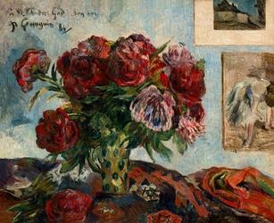 Still life with peonies, paul gauguin - plakat wymiar do wyboru: 50x40 cm