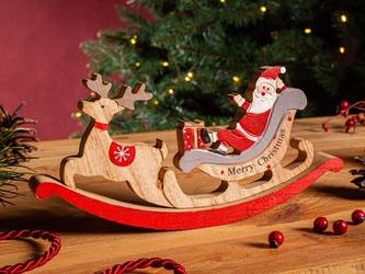 Figurka  ozdoba  dekoracja świąteczna drewniana święta boże narodzenie altom design mikołaj w saniach 23,5 x 2,5 x 11,5 cm