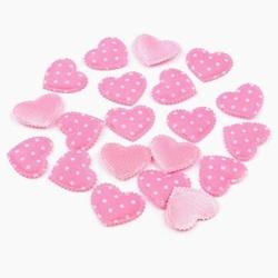 Ozdobna aplikacja serce 17x20 mm - różowe - róż