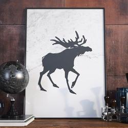 Plakat w ramie - scandi moose , wymiary - 30cm x 40cm, ramka - czarna