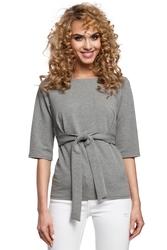 Bawełniana bluzka na co dzień podkreślająca talię szara m287