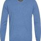 Błękitny sweter  pulower v-neck z bawełny  m