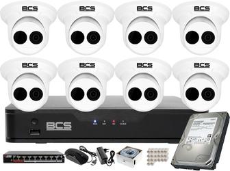 Monitoring zestaw do firmy, szkoły bcs point rejestrator ip + 8x kamera fullhd + akcesoria