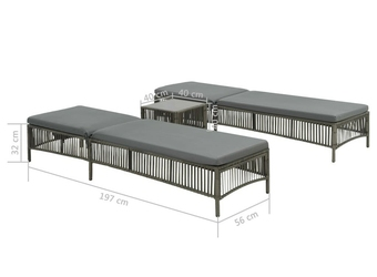 Zestaw leżaków ogrodowych ze stolikiem wito polirattan szary