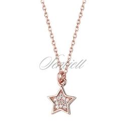 Srebrny naszyjnik pr.925 gwiazdka z cyrkoniami - różowe złoto - różowe złoto