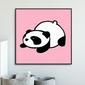 Pink panda - plakat dla dzieci , wymiary - 60cm x 60cm, kolor ramki - czarny
