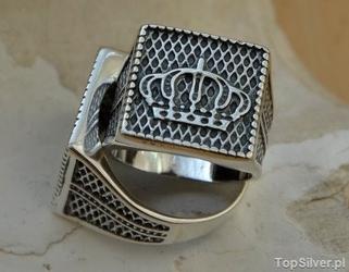 Korona królów - srebrny sygnet 925
