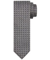 Szary jedwabny krawat profuomo we wzór