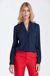 Granatowa elegancka koszulowa bluzka z dekoltem w szpic