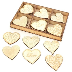 Drewniane ozdoby 30 szt. grawerowane serca serce - serce grawerowane