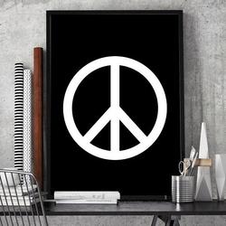 Peace - plakat designerski , wymiary - 60cm x 90cm, ramka - biała , wersja - na czarnym tle