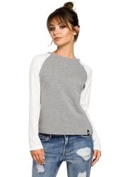 Damska prosta bluzka z długim rękawem szara b047