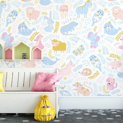 Tapeta dziecięca - pastel zoo , rodzaj - tapeta flizelinowa laminowana