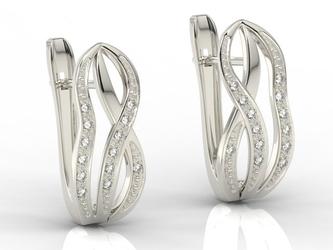 Kolczyki z białego złota z diamentami lpk-69b