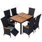 Komplet ogrodowy stół + 6 krzeseł emir ii polirattan czarny