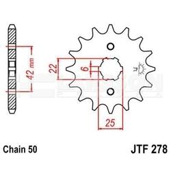 Zębatka przednia jt f278-17, 17z, rozmiar 530 2200129 honda cj 250