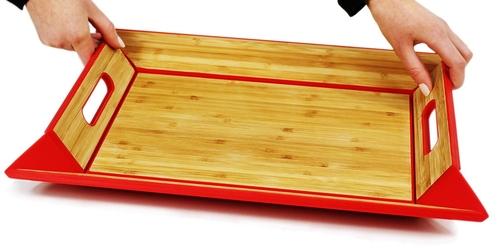 Dwustronna taca bambusowo-silikonowa freeform czerwona ff-ffbs1702red