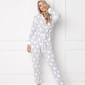 Piżama damska aruelle polar bear onesie grey kombinezon