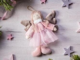 Zawieszka choinkowa  dekoracja  ozdoba pluszowa na boże narodzenie altom design anioł 16 cm w różowej spódniczce
