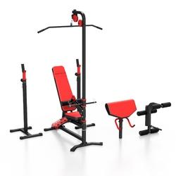 Zestaw ms38 | ławka dwustronnie regulowana + stojaki pod sztangę + prasa na nogi + modlitewnik + wyciąg - marbo sport