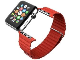Czerwony skórzany pasek loop - zapięcie magnes do apple watch 38mm - czerwony