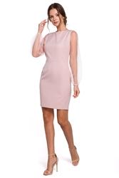 Sukienka mini wieczorowa z tiulowymi rękawami różowa k032
